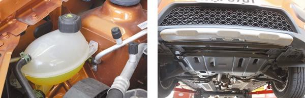 """Reservatório de expansão do líquido de arrefecimento e pontos de recarga do ar-condicionado bem posicionados, facilitando os procedimentos de manutenção / Protetor de cárter de série. Item importante para uma proposta """"offroad"""""""