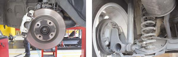 Conjunto freio e suspensão robusto e de manutenção simples