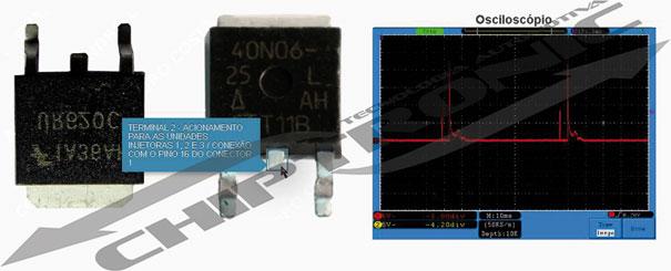 Teste do sinal de saída do transistor para acionamento do injetor