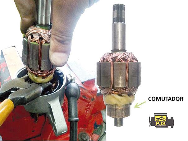 Instalação do induzido nas escovas do motor de arranque