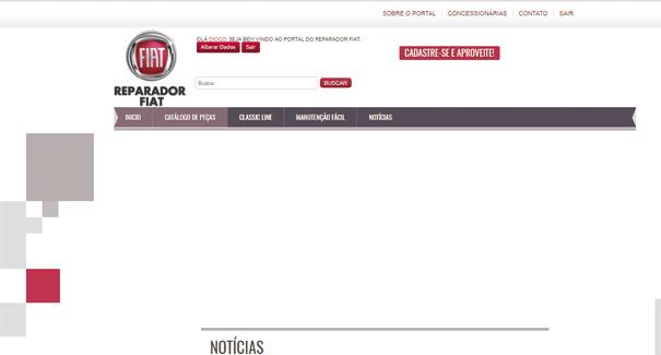 Pagina do REPARADOR FIAT.  Fácil cadastro, informações técnicas e conteúdo exclusivo