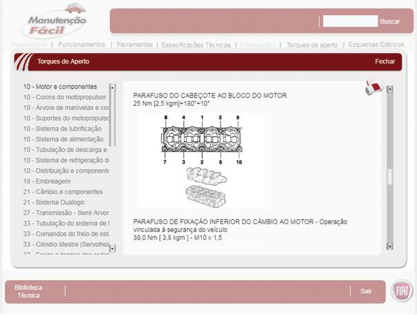 """A aba """"Manutenção Fácil"""" traz uma lista de carros e várias opções de informações técnicas, como por exemplo o torque dos parafusos do cabeçote deste Palio Fase III"""