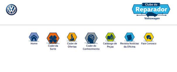 Menu do portal Clube do Reparador Volkswagen. São muitos vídeos, materiais para download e ações promocionais.
