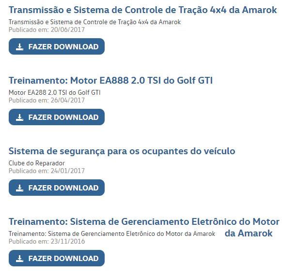 O portal da Vw disponibiliza para download apostilas, slides com conteúdo técnico de qualidade.