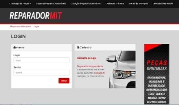 Figura 1- Reparador Mit- sistema de informações técnicas da Mitsubishi