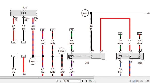 Esta imagem mostra parte de um diagrama elétrico da Volks de um Passat