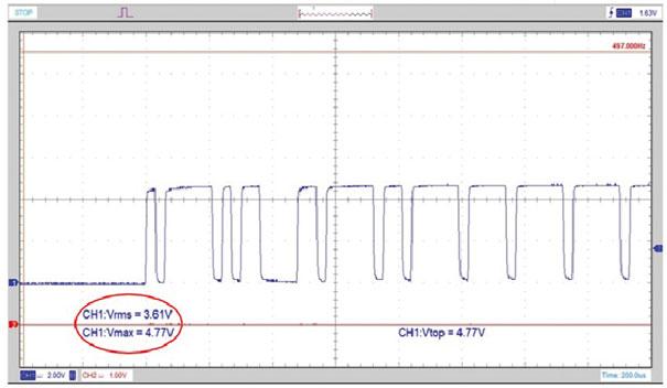 Figura 11.  Sinal da Rede CAN Baixa Velocidade com valores médio e máximo de tensão