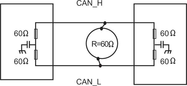 Figura 6. Resistência elétrica entre a redes CAN-Alta e CAN-Baixa e resistores de terminação