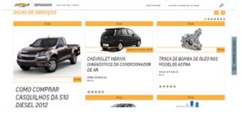 Figura 7- Página principal do portal Reparador Chevrolet. Muitas dicas para download direto. Basta clicar em cima de cada foto.