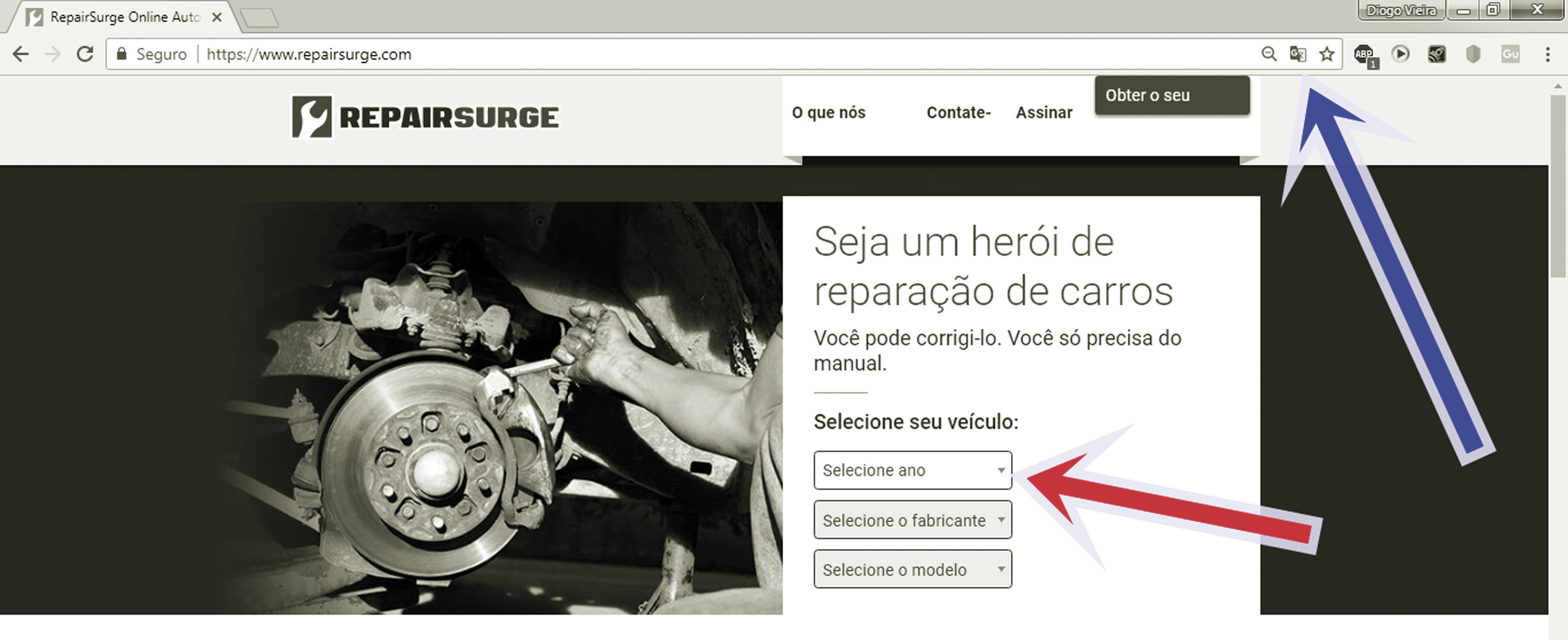 Figura 1- Página inicial do REPAIRSURGE aberta no navegador Google Chrome.  Tradução de inglês-português em um clique