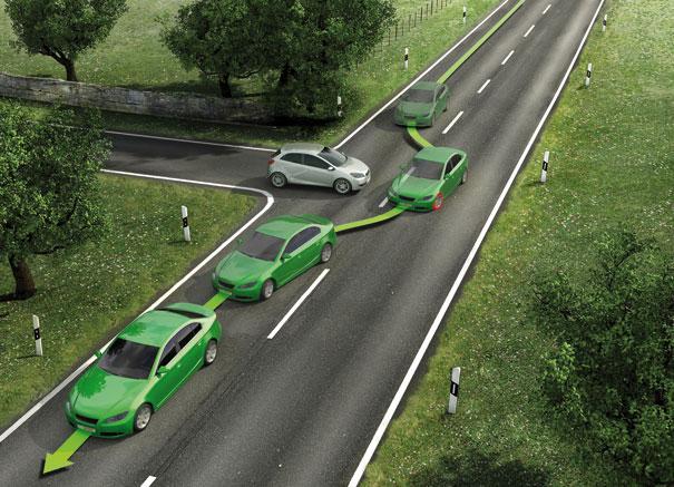 O controle Eletrônico de Estabilidade permite que o motorista mude a trajetória rapidamente sem perder a direção