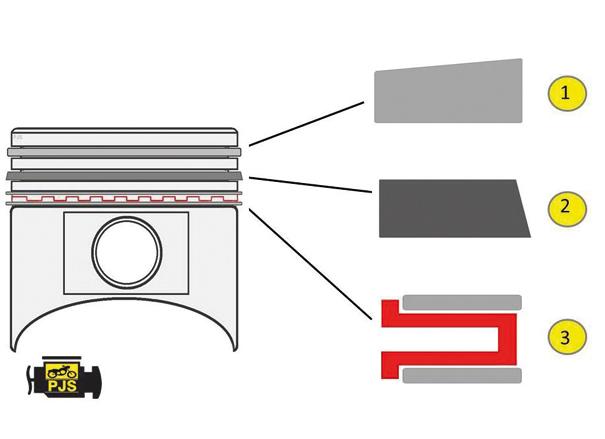Fig. 1: Pistão e jogo de anéis