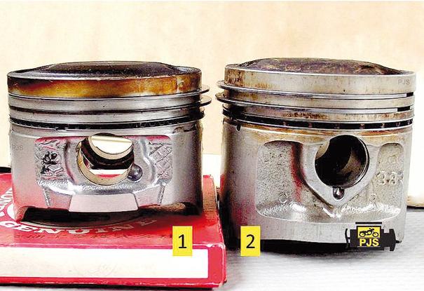 Fig. 3 -Pistão e anéis: (1) Pistão fabricado a partir do ano 2000, (2) pistão aplicado até o final da década de 1990 - motocicleta 125cm[3]