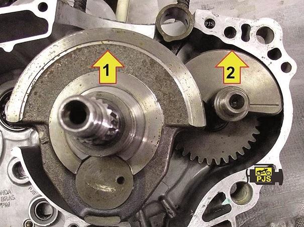 Fig. 4 - Condição 2 topo da biela em PMI, virabrequim (1) contrapeso para cima, balanceiro (2) apontando para cima, motocicleta Honda CB 300
