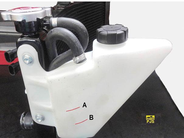 Fig. 5 - Radiador, tampa e tanque de expansão, indicador de nível (A) máximo, (B) mínimo.