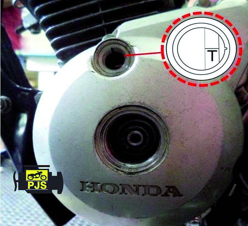 """Fig. 5 – Tampa lateral esquerda do motor, visor de verificação de ponto """"T"""" – motocicleta Titan 150"""
