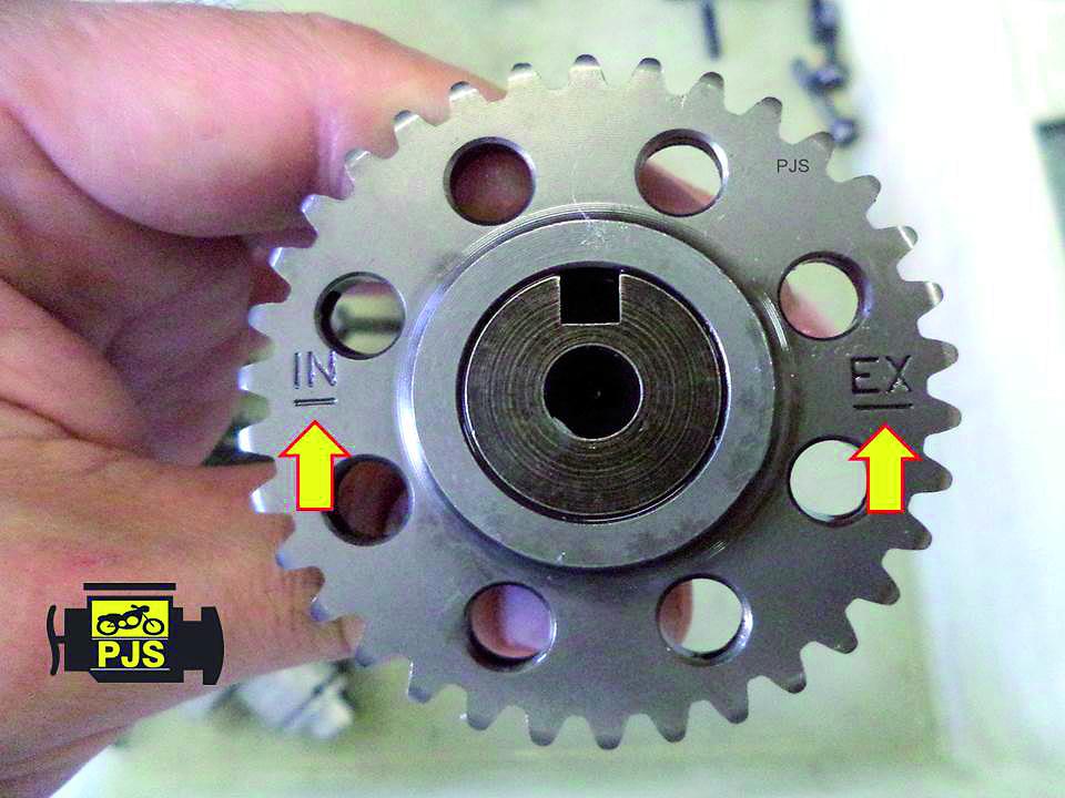 Fig. 7 - engrenagem de comando de válvulas, linha de referência, motocicletas: XRTornado/CBX Twister 250