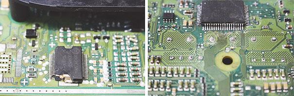 Foto 1 - Componente danificado e solda fria