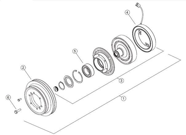 1. Conjunto embreagem; 2. Polia 2A\2B (diâmetro de 200mm); 3. Kit embreagem; 4. Magneto ou Bobina; 5. Rolamento da polia; 6. Parafuso de fixação.