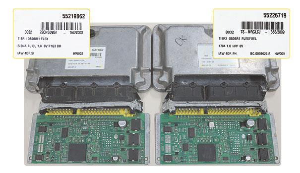 Módulos de injeção com o mesmo Hardware porém com Softwares diferentes
