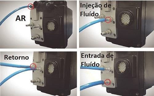 Imagem 5 – Efetuando as conexões (Auxílio de gerador de ar comprimido / Recipiente com fluido a ser usado no teste – Não necessita ser ARLA real)
